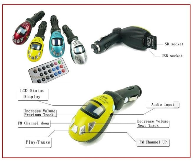 FM Transmitter is available in various colors